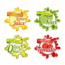 不同产品和颜色的装饰标签