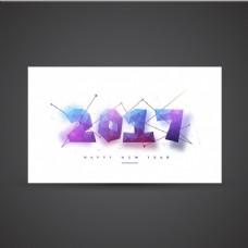 多边形卡在蓝色和紫色的新年色调