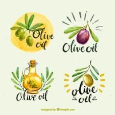 四集水彩画风格的橄榄油贴纸