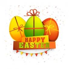 复活节背景与三个鸡蛋