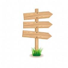 手绘木牌路标元素