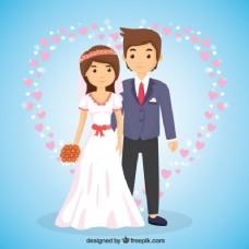 卡通风格的新婚夫妇