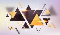 带有几何三角形和金色透镜光晕效果的炽热抽象背景。