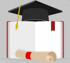 毕业帽子书本免抠png透明图层素材