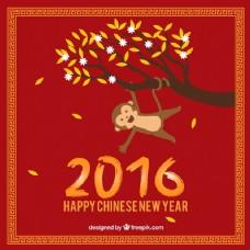 树挂树枝的新年背景