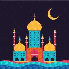 美丽的背景与彩色清真寺
