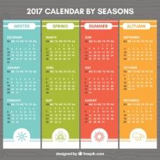 带有季节图的彩色2017年历