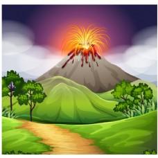 火山背景设计