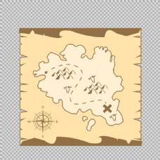 手绘海盗地图免抠png透明图层素材