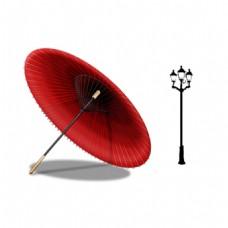 雨伞路灯元素