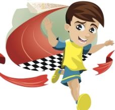 手绘男孩跑步元素