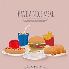 美味的午餐和各种各样的食物