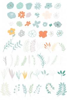 可爱卡通手绘植物矢量设计素材