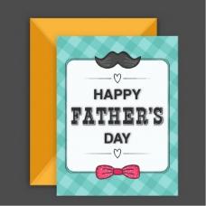 方格的父亲节卡片与领结和小胡子