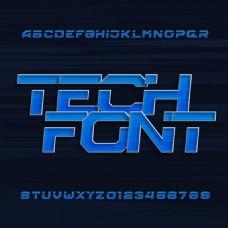 科技大写字母和数字矢量素材