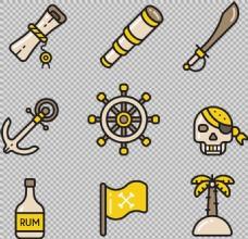各种手绘海盗元素图免抠png透明图层素材
