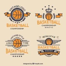 复古风格的篮球徽章