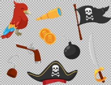 各种海盗元素图案免抠png透明图层素材