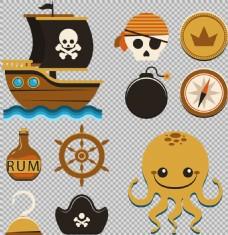 卡通风格海盗元素图免抠png透明图层素材