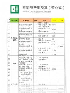 营销部费用预算(带公式)Excel模板