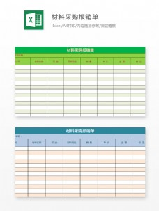 材料采购报销单Excel文档