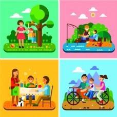 扁平化家庭漫画图片