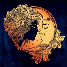 卡通美女月亮插画图片