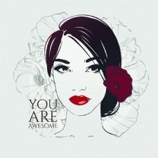 红唇时尚女性头像矢量