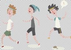 手绘跑步运动的人免抠png透明图层素材