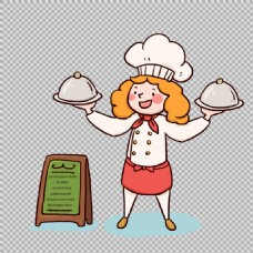 可爱美女厨师人物免抠png透明图层素材