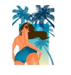 夏日海滩女性背景插画