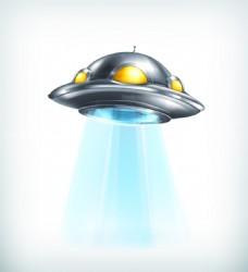 银色卡通外星飞行器矢量