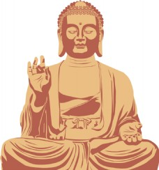 卡通金色佛祖雕像