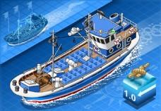 大海上的货轮插画