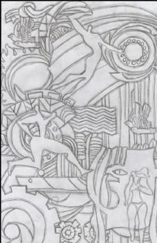 运动抽象画 体育浮雕设计