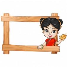 框架与亚洲女孩设计