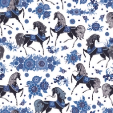 蓝色鲜花马无缝背景图
