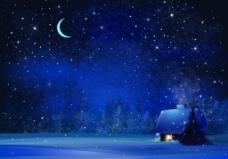 安静的雪夜背景
