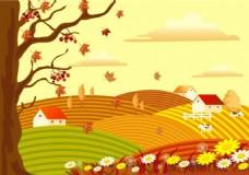 金色秋季稻田背景图