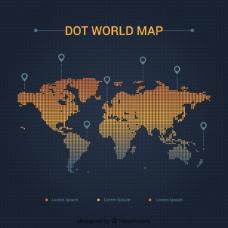 在定位点的世界地图