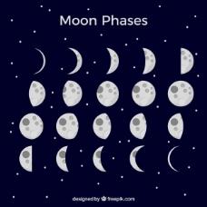 深蓝色背景和月相
