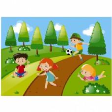 在草地上玩耍的孩子们