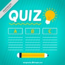 测验背景与铅笔和三个选项