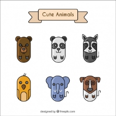 六只可爱动物的几何集合