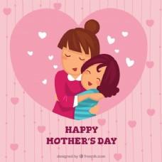可爱的母亲拥抱女儿的背景