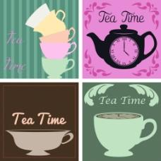 咖啡店铺茶壶下午茶矢量背景