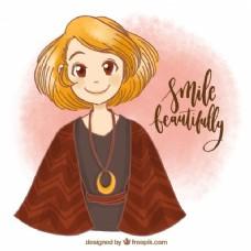 年轻女子微笑的手绘背景