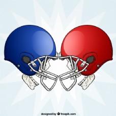 红色和蓝色头盔头骨的背景
