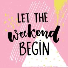 粉色周五欢乐周末聚会文字宣传卡片海报