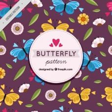 彩色蝴蝶花图案